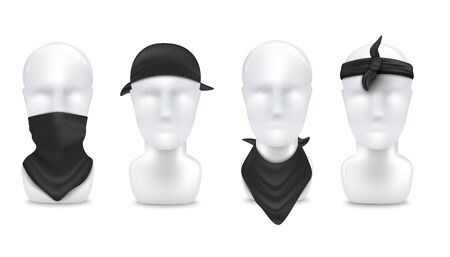 Black bandana on mannequin in various ways to wear - on neck and head set, realistic vector illustration mockup isolated on white background. Fashion clothing template.