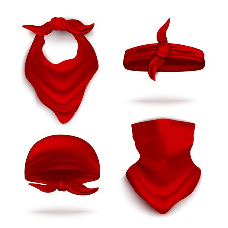 Red bandana on neck and head set, realistic vector illustration mockup isolated on white background. Youth fashion neck scarf or cowboy garment element template. Illustration