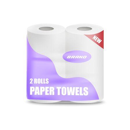 Confezione di rotoli di carta igienica o da cucina con disegno geometrico, illustrazione realistica di mockup di vettore isolato su priorità bassa. Confezionamento di fazzoletti per l'igiene e la pulizia della casa. Vettoriali