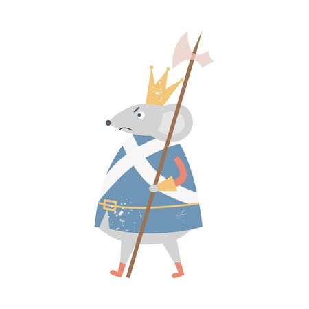 Angry mouse king with crown walking with medieval axe spear isolated on white background - Nutcracker fairytale character with mad facial expression, flat vector illustration