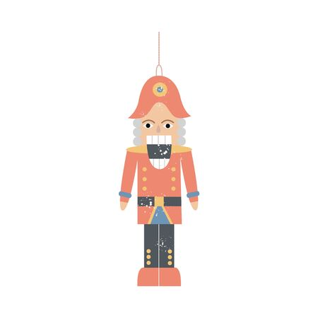 Nutcracker or vintage wooden soldier toy a Christmas fabulous decoration, flat vector illustration isolated on white background. Traditional Xmas tree decor element.