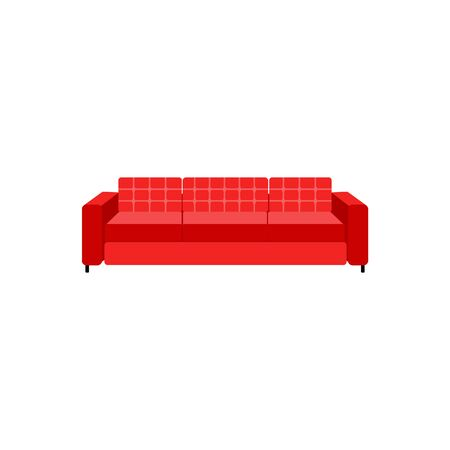 Upholstered red leather or fabric couch with three seats icon vector illustration isolated on white background. House and office furniture in minimalist style symbol.