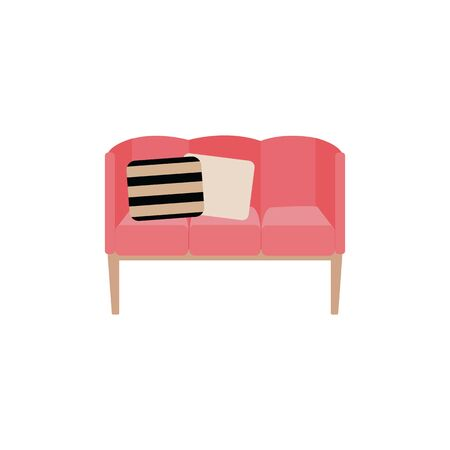Upholstered sofa or couch with decorative pillows color icon vector illustration isolated on white background. House and office furniture soft pink padded bench symbol.