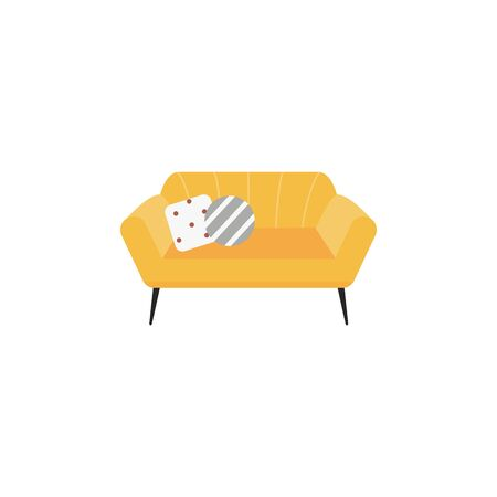 Yellow fabric sofa or couch single icon vector illustration isolated on white background. Home or office furniture element - padded bench with pillows symbol.
