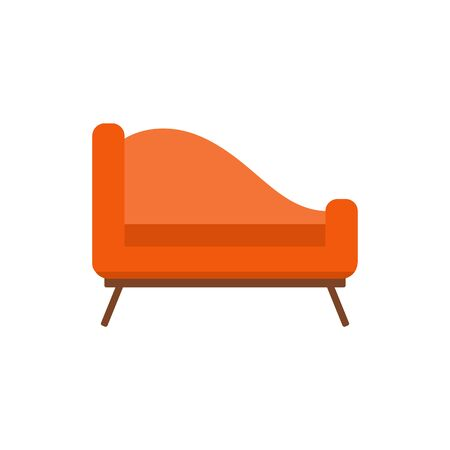 Upholstered couch or divan-bed single icon vector illustration isolated on white background. House interior furniture - padded bench or settle colorful symbol. Stock Illustratie