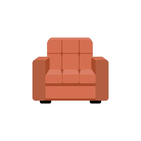 Home or office modern luxurious padded chair vector illustration isolated on white background. Interior house living room or cabinet furniture and decoration element.  イラスト・ベクター素材