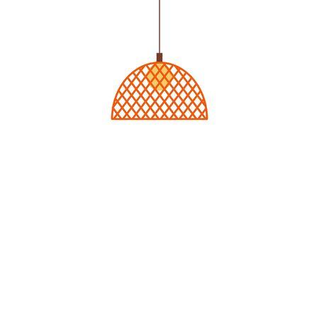 Lampade a sospensione lampada a sospensione con paralume icona piatto del fumetto isolato su priorità bassa bianca. Illuminazione domestica della lampadina elettrica e elemento decorativo.