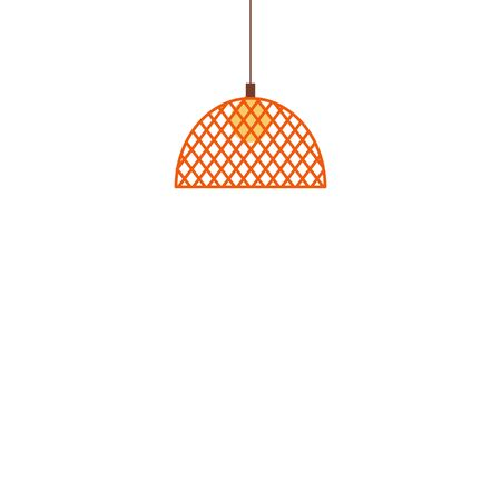 Pendant lights hanging lamp with lampshade icon flat cartoon vector illustration isolated on white background. Home electric bulb lighting and decoration element.