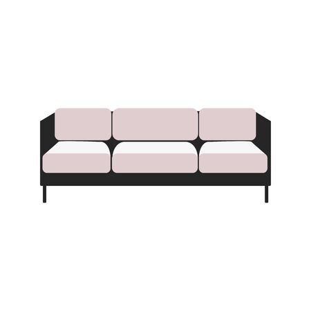 Padded combined with black and white fabric couch with three seats icon vector illustration isolated on white background. Living room or office interior furniture. Illusztráció