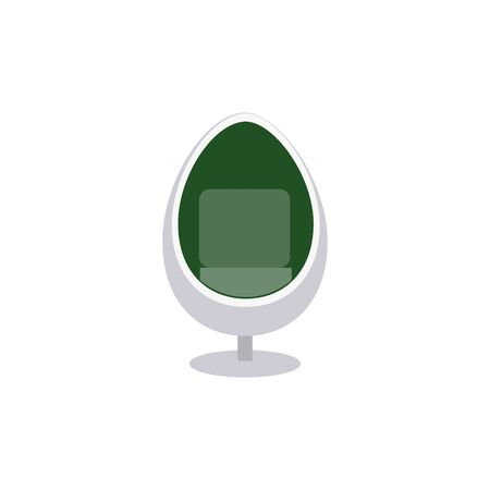 Colorful white egg chair with green inside lining - flat icon isolated on white background. Modern seat for living room interior design, vector illustration