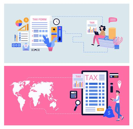 Online tex form banner set - smart phone screen with financial accounting website interface, world map and people using banking business tools. Flat cartoon vector illustration.