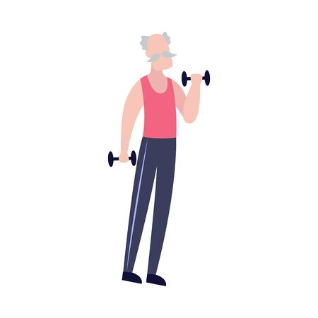 Old man lifting dumbbell weights - healthy workout session isolated on white background. Senior adult in sport clothes holding dumbbells - flat vector illustration.
