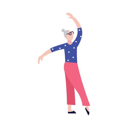 Old people doing exercises. Grandparents. Sport. Vector isolated illustration. Cartoon character. Illustration