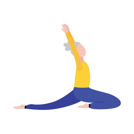 Senior woman in stretching yoga position isolated on white background - cartoon senior pensioner living healthy lifestyle and doing exercise. Flat vector illustration