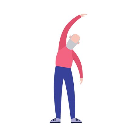 Old cartoon man in sport outfit standing in stretching pose - healthy senior lifestyle and elderly activity. Isolated flat vector illustration of grandfather doing fitness exercise. Illustration