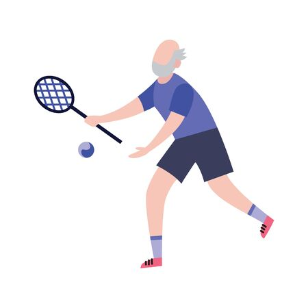 Elderly man playing tennis cartoon character flat vector illustration isolated on white background. Senior people active lifestyle and sport workout for longevity.