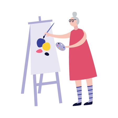 Creative and active elderly woman of retired age character painting on canvas, flat vector illustration isolated on white background. Senior pensioner people lifestyle.