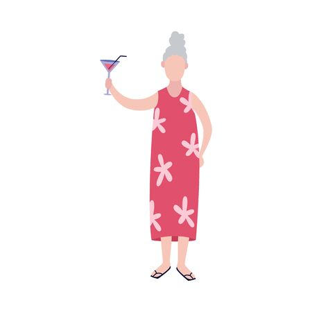 Positive cheerful senior woman with glass of wine cartoon character, flat vector illustration isolated on white background. Elderly people active and healthy lifestyle.