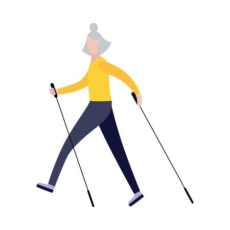 Old cartoon woman walking with nordic walk sticks - active female senior with healthy sport lifestyle doing exercise. Isolated flat vector illustration.