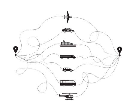 Aircraft, water and land transport or vehicle icons with road track lines, black vector illustration isolated on white background. Passenger and freight transportation. 向量圖像