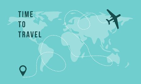 Time to Travel banner template with flying airplane icon and route track on world map background, vector illustration. Traveling and tourism advertising poster. Vektorové ilustrace