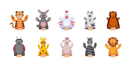 Cute cartoon animal hand or finger puppet set isolated on white background - colorful farm and safari animals children's toys for skit play. Flat vector illustration.