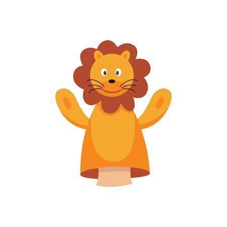 Cartoon Löwe Handpuppe isoliert auf weißem Hintergrund - süßes orangefarbenes Tierspielzeug für Kinderspielshow mit brauner Mähne. Flache Vektorillustration.