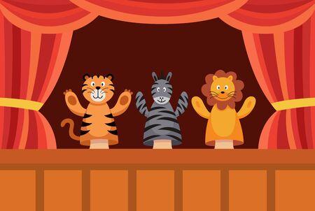 Manifesto dello spettacolo di marionette a mano con simpatici animali giocattolo dei cartoni animati che eseguono un gioco. Bambole di tigre, zebre e leoni sul palco del teatro con sipario rosso - illustrazione vettoriale piatta dei cartoni animati Vettoriali