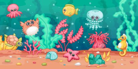 Underwater landscape scene with sea animals and plants or seaweeds, cartoon vector illustration in kawaii style on seabed background. Aquarium or ocean marine seascape. 向量圖像