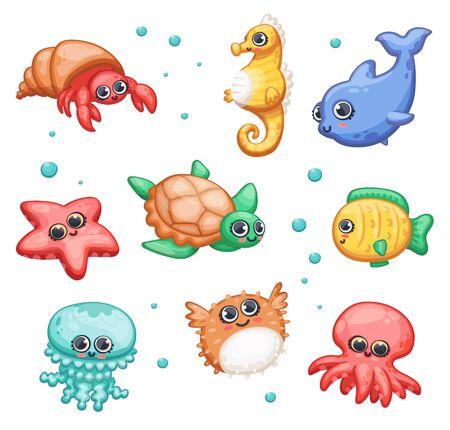 Divertidos animales marinos o oceánicos bajo el agua - peces, tortugas y pulpos conjunto de ilustración de vector de dibujos animados plano aislado sobre fondo blanco. Para impresiones sobre temas marinos.