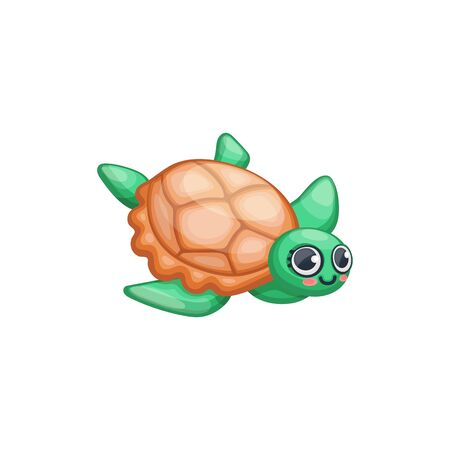 Cute cartoon turtle isolated on white background - green and brown marine animal swimming and smiling. Cheerful small tortoise - flat vector illustration. Foto de archivo - 134874499