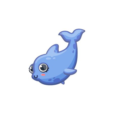 Cute little whale or dolphin cartoon character vector illustration in kawaii style isolated on white background. Sea or ocean underwater childlike animal for prints.