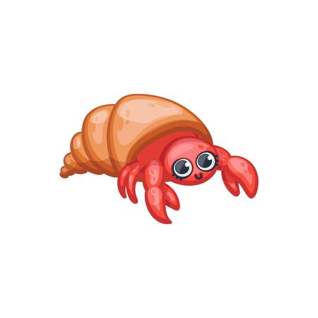 Cute funny underwater animal - cartoon cancer or lobster in shell, kawaii style vector illustration isolated on background. Sea or aquarium dewell for marine design.