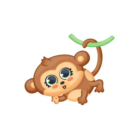 Cartoon baby monkey hanging on tail, vector illustration in kawaii anime style isolated on white background. Zoo or jungle funny sweet childlike animal character. 向量圖像