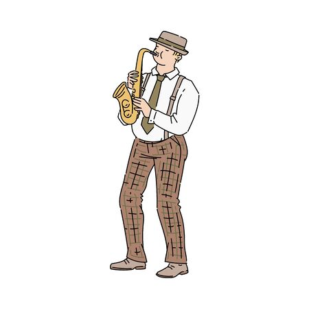 Saxophone player, musician man - street or professional artist or performer cartoon character, vector illustration in sketch style isolated on white background. 일러스트
