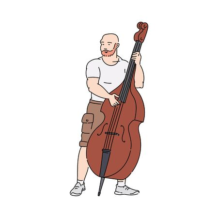 Cartoon man playing music on big double bass or cello - street musician with classical musical instrument standing and performing. Isolated flat vector illustration