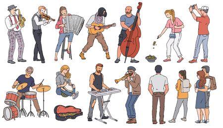 Personnages de dessins animés de musicien de rue jouant différents instruments de musique ensemble d'illustration vectorielle de croquis isolé sur fond blanc. Les gens du spectacle de rue.