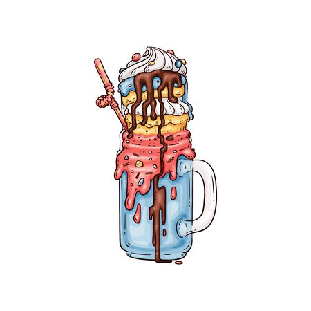 Colorful giant hand drawn milkshake with crazy sweet toppings with chocolate syrup, candy and fruit ice cream. Extreme dessert beverage - flat isolated vector illustration.