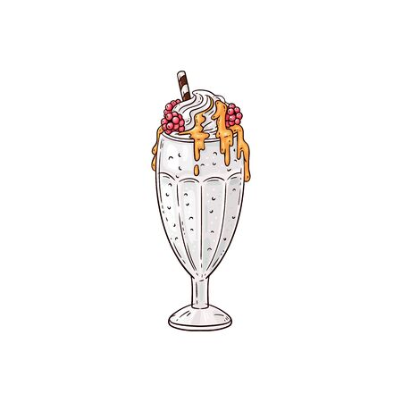 Hand drawn milkshake topped with whipped cream, red berries and caramel syrup served in glass cup with straw. Flat drawing of sweet dessert drink - isolated vector illustration.