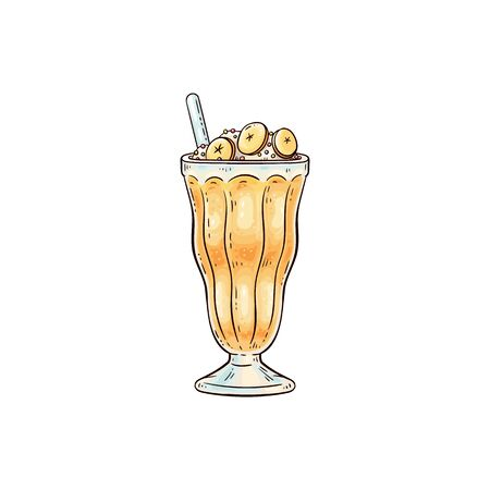 Milkshake or fruit cocktail in glass with whipped cream top and straw icon, sketch cartoon vector illustration isolated on white background. Sweet dessert or smoothie. Illustration