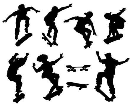 Patinadores realizando trucos en sus tablas siluetas negras conjunto de ilustraciones vectoriales aisladas sobre fondo blanco. Patinando sobre tablas jóvenes deportistas extremos.