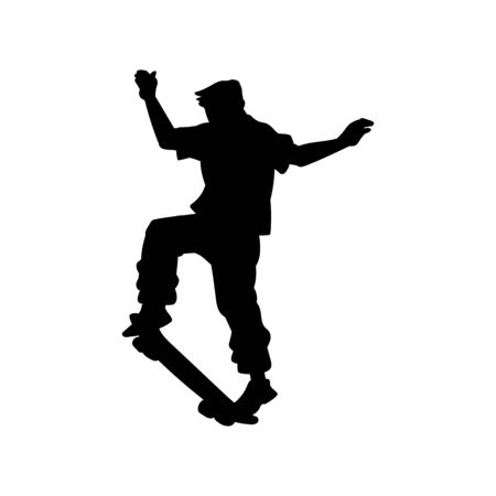 Black skateboarder teen silhouette in mid jump dynamic position - isolated flat outline of man doing extreme sport stunt and jumping with skateboard. Vector illustration