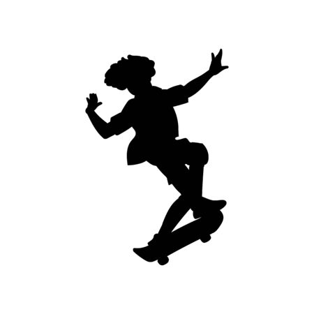 Young man or teenager boy black silhouette making trick on skateboard vector illustration isolated on white background. Skateboarder character outline shape.
