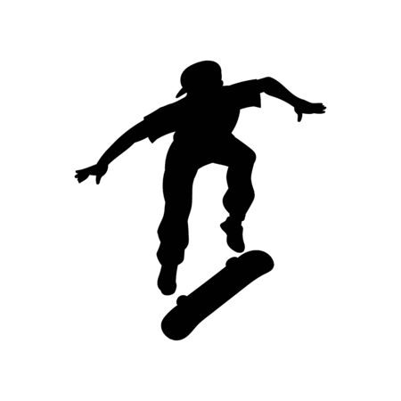 Black skateboarder man doing extreme jump while flipping a skateboard - isolated silhouette on white background. Cool teenager stunt jumping - flat vector illustration