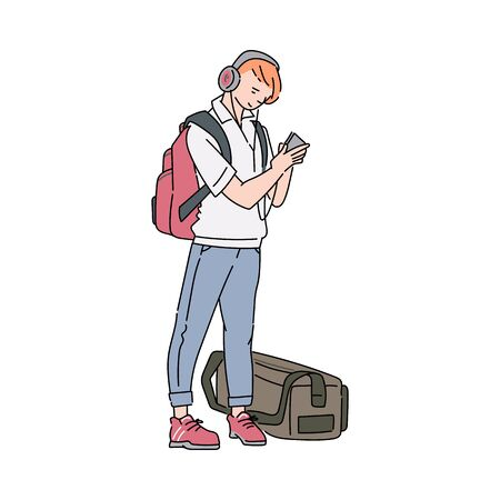 Traveling young man cartoon character with luggage waiting for train or airplane, sketch vector illustration isolated on white background. Tourism and transportation.