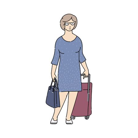 Woman cartoon character with luggage waiting for transport arrival, sketch vector illustration isolated on white background. Tourism and traveling passengers transportation. 일러스트