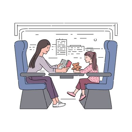 Mother and daughter traveling in train cartoon characters in railway carriage, vector sketch illustration isolated on white background. Family travel and tourism.