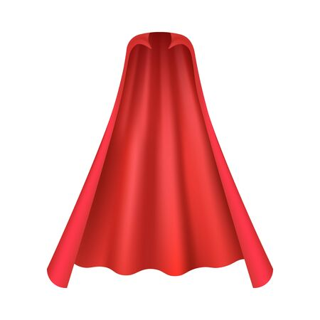 Realistic red cape for vampire or superhero costume seen from front view isolated on white background - smooth mantle with flowing silk fabric. Vector illustration