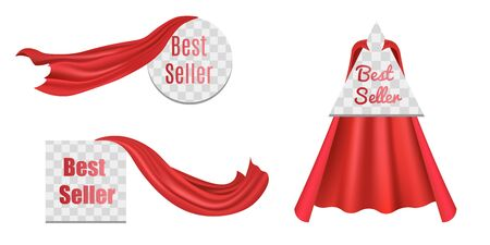 Set of Best Seller badge or label with red superhero cloaks or capes, realistic vector illustration isolated on transparent background. Best employee award mark.