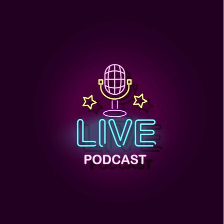 Live podcast banner with microphone vector realistic illustration with neon lights effect isolated on dark background. Music or radio, social media broadcast symbol. Ilustracja
